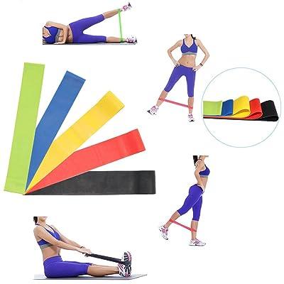 Set of 5 Elastique Résistance bande de boucle stretch mobilité Band Best Fitness Bandes d'exercice pour Activités Sportives Intenses Gymnastiques Musculation Yoga Pilates ou Réhabilitation