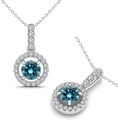 """1.25 Ct Round Cut Blue Solid 14k White Gold Solitaire Pendant 18/"""" Necklace"""
