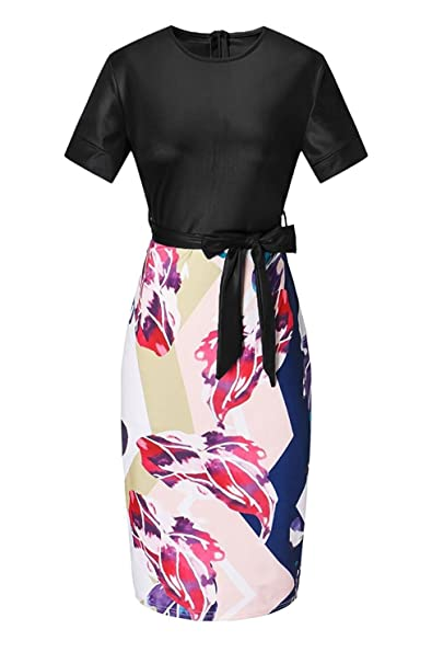 e9419c94e4 Janestone Women Tunic Knee Length Colorblock Business Bodycon Pencil Dress  with Belt (S