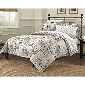 Amazon Com Sailboats Lighthouses Bedding Nautical Printed Comforter Sham Sheets Pillowcase