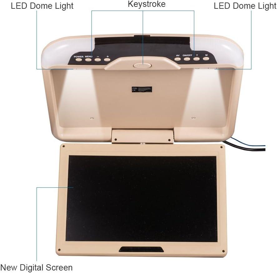 17.3 pulgadas monitor de video abatible hacia abajo para coche montaje en el techo 1080P HD TFT LCD Reproductor MP5 con techo ultra delgado con altavoz incorporado LED USB SD FM HDMI,Beige