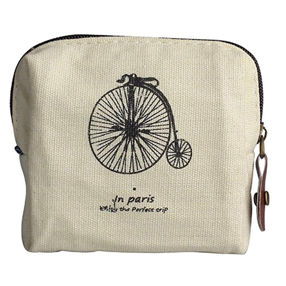 CAOLATOR Lienzo Monedero Retro Cartera Paris Memoria Nost/álgica Monedero Bolso de la Bolsa Holder Bolsa de Almacenamiento para Mujer Ni/ña-Bicicleta