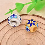 MFMei 925 Sterling Silver Round with Lotus Flower Cloisonne Enamel Spacer Beads (TL023) (Golden)