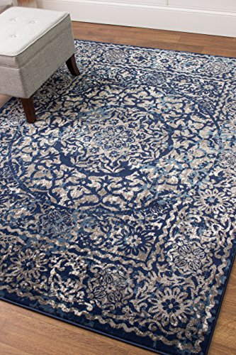 transitonal blue vintage distressed border rugs 8x10 living room trendy carpet 7feet 10inch by 9feet 10inch