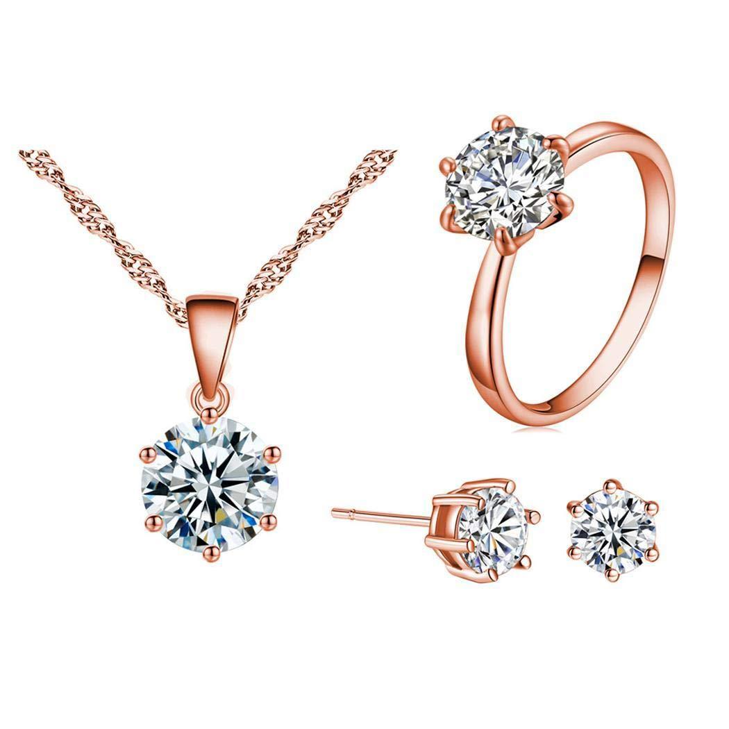 adolenb Mujeres joyas moda Rhinestone Zircon collar pendientes anillos regalo Juegos de joyas