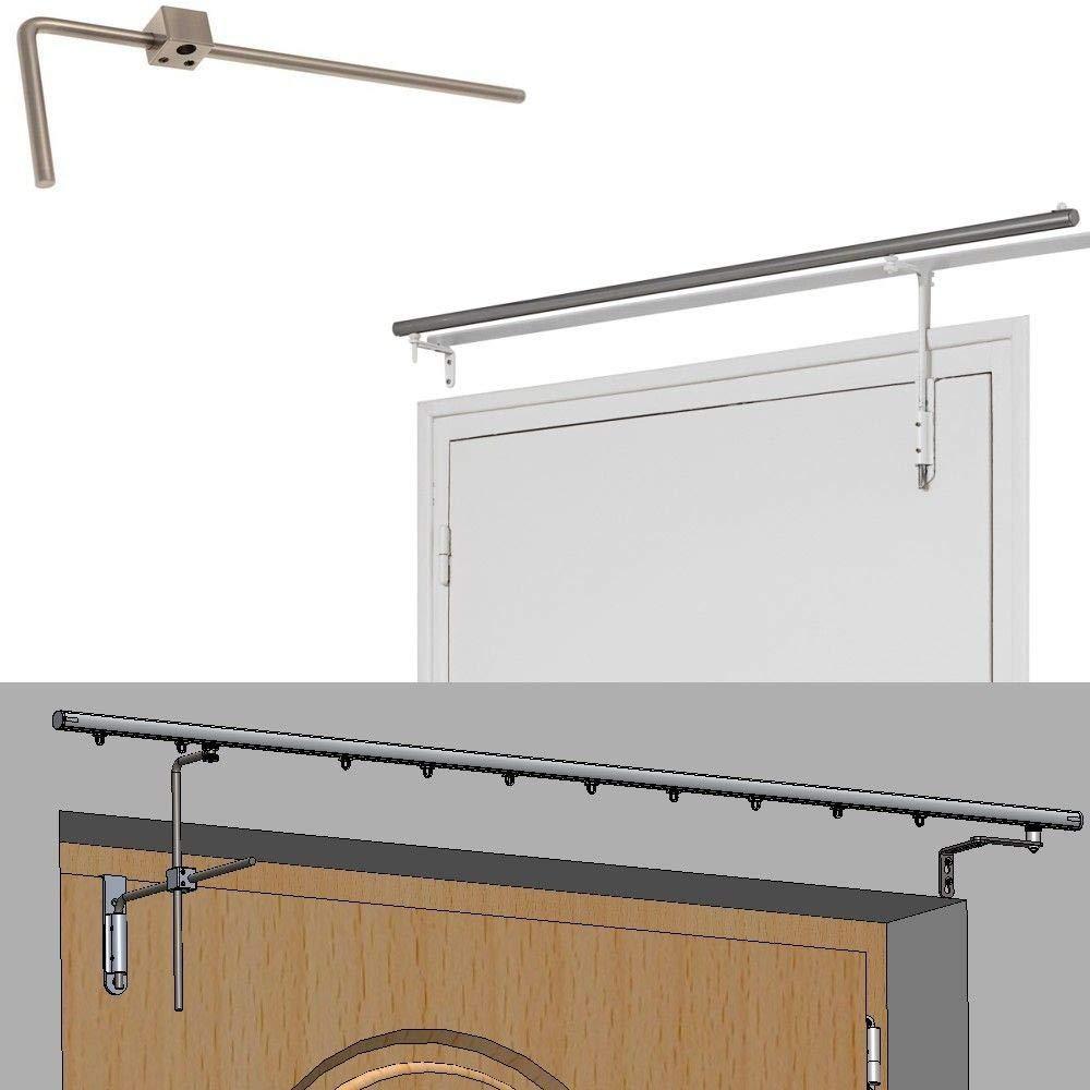Tringle de Porte pivotante - Habillage Porte Rideau Long 120 cm - Blanc dkdo