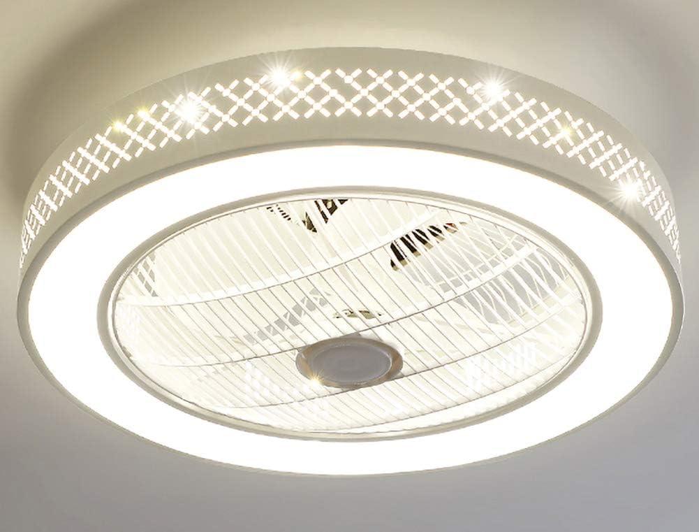 Ventilador de techo con luz, 23 pulgadas LED regulable a distancia Ventilador de techo Iluminación, Invisible cuchillas de bajo perfil de montaje empotrado ventilador sin cuchilla (blanco)