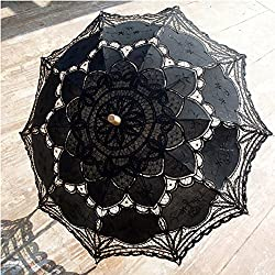 Tracfy Fancy Lace Umbrella Vintage Parasol Sun Umbrella Romantic Bridal Accessories Wedding Party Decoration Outdoor Beach Umbrellas, Black
