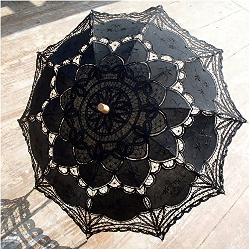 Tracfy Fancy Lace Umbrella Vintage Parasol Sun Umbrella Romantic Bridal Accessories Wedding Party Decoration Outdoor Beach Umbrellas, Black -