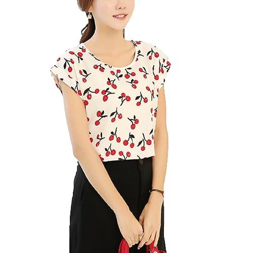Las Mujeres Imprimieron La Camiseta Floja De Gran Tamaño De La Tapa De La Camiseta De La Gasa Del Cu...