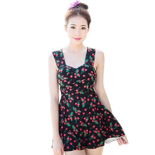 29b795780e29a BIKMAN Back Crossover Strap One-piece Swimsuit Cherry Print Plus Size  Swimwear (L(