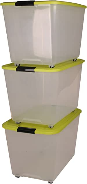 IRIS 3 x 60 litros Caja de plástico, Caja de plástico Transparente, Cajas con Ruedas y asa de contenedores, immagazzinoggio plástico, contenedores, almacenaje con Tapa, en Lata orgánico - 60 litros: Amazon.es: Hogar