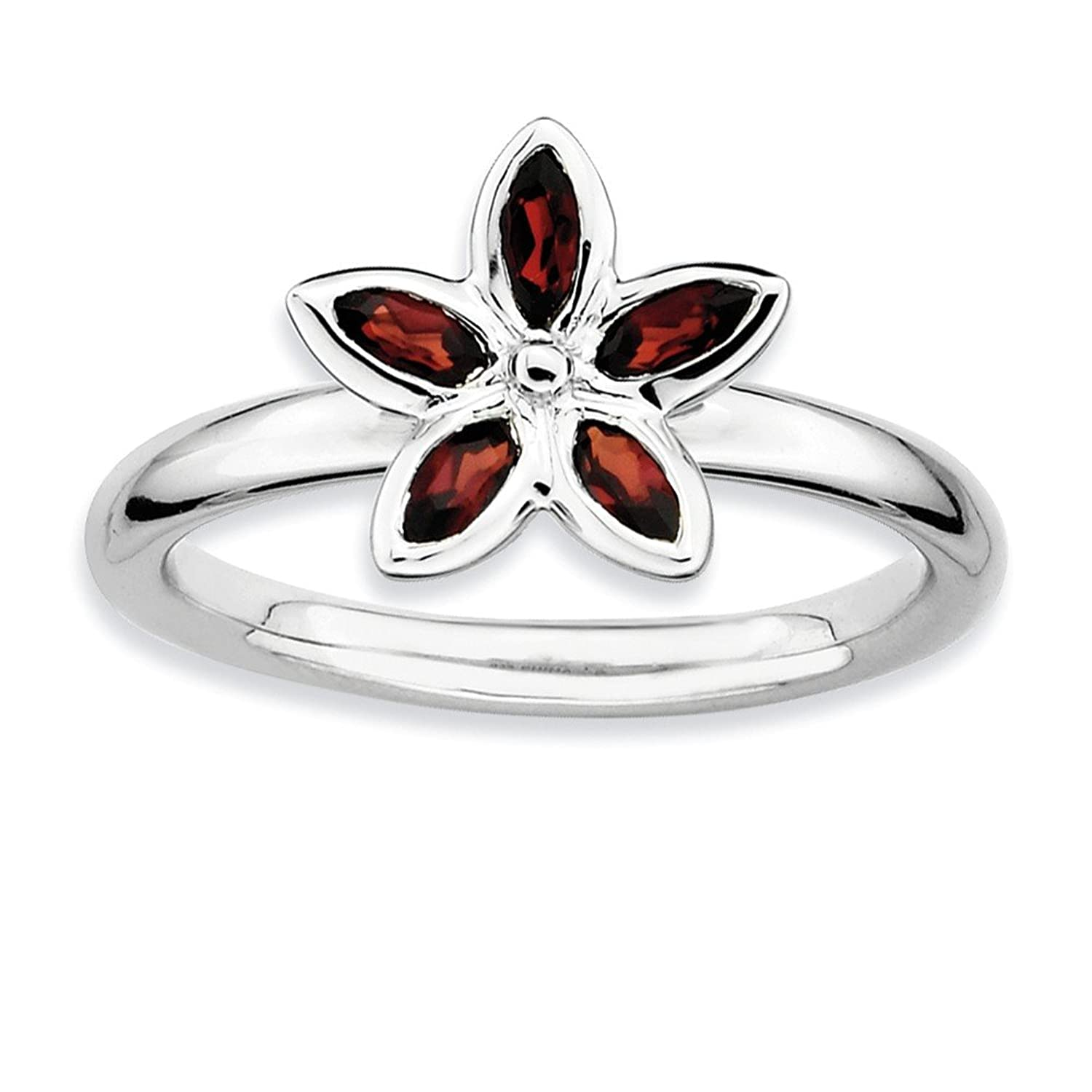 Roy Rose Jewelry Sterling Silver Stackable Expressions Garnet Flower Ring