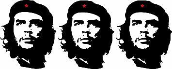 Etaia 3 X Mini Aufkleber Che Guevara Roter Stern Revolution Kuba Cuba Sticker Auto Motorrad Fahrrad Bike Auch Für Dampfer E Zigarette Sisha Auto