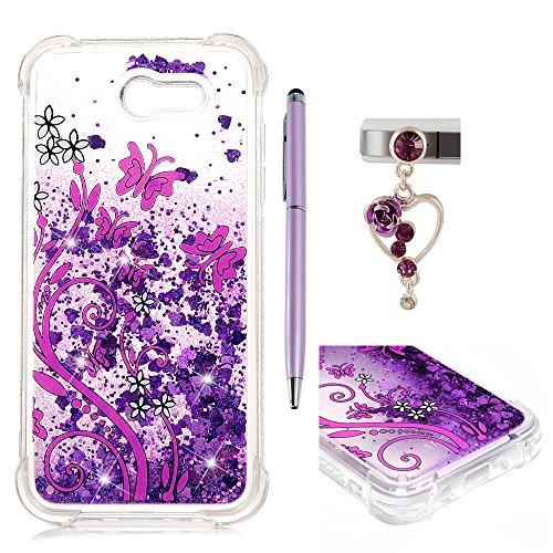 Galaxy J3 Emerge Case, J3 Prime/J3 Eclipse/J3 2017/J3 Mission/J3 Luna Pro/Sol 2/Amp Prime 2 Case, Liquid Glitter Cover Sparkle Love Heart Soft TPU Bumper ZSTVIVA - Purple Flowers Butterfly -