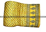 Indian Floral Lotus Quilt handmade, designer RAJAI (RAZAI) ,100% Cotton, Exotic Colors BY BHAIRAV HANDICRAFT (YELLOW, QUEEN)