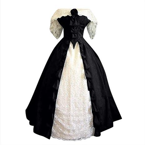 Vestido Vintage Mujer De Corte Encaje Vestido Retro De Un Hombro ...