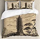Asian Decor Duvet Cover Set by Ambesonne, Old Stone Tiered Tower Vintage Style Taoist House of Faith Historical Illustration, 3 Piece Bedding Set with Pillow Shams, Queen / Full, Pale Brown Black