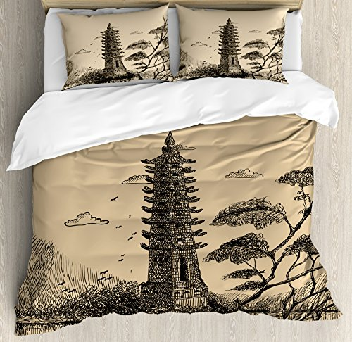 Asian Decor Duvet Cover Set by Ambesonne, Old Stone Tiered Tower Vintage Style Taoist House of Faith Historical Illustration, 3 Piece Bedding Set with Pillow Shams, Queen / Full, Pale Brown Black by Ambesonne