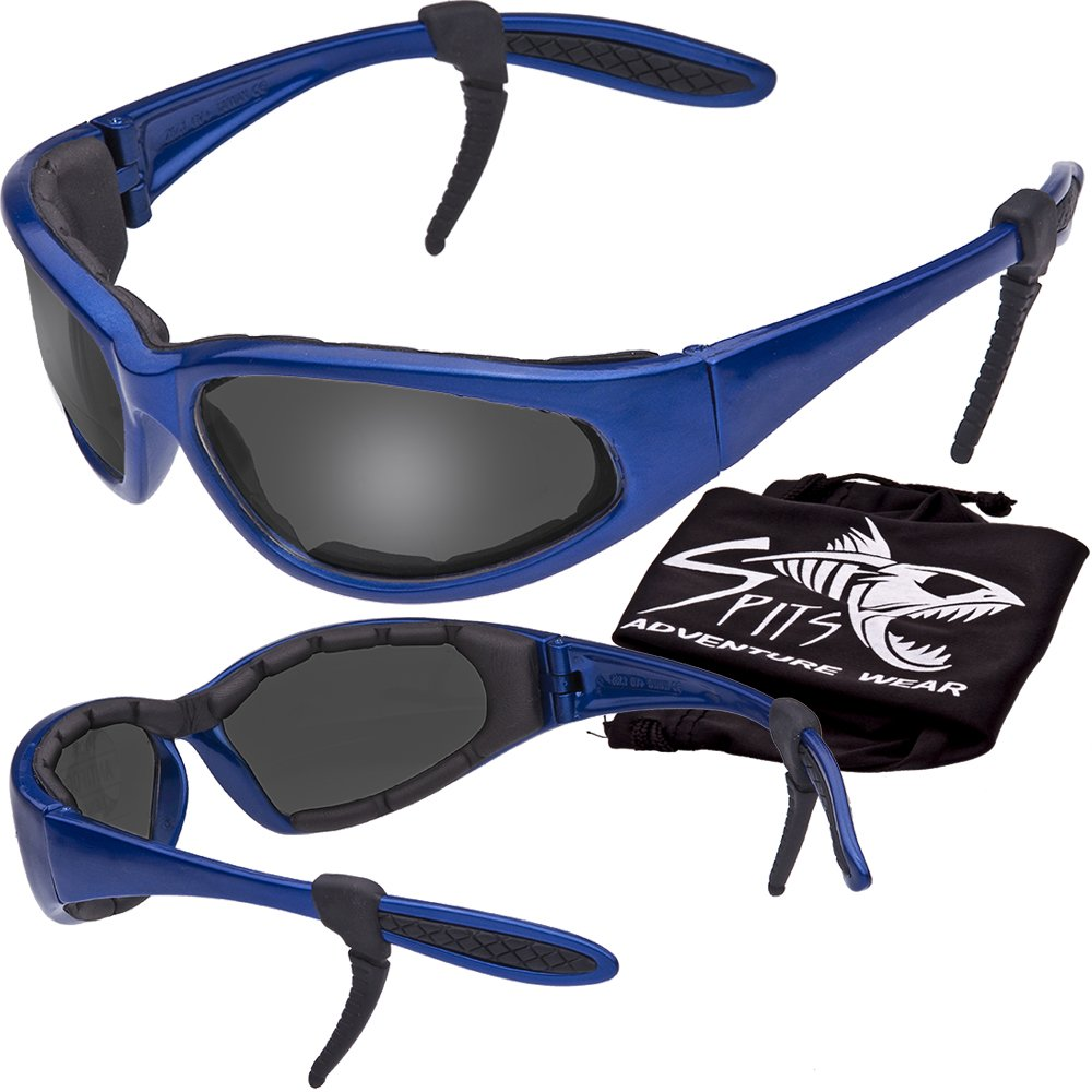 Hercules Safety Glasses ''Plus'' - Foam Padded - Rubber Ear Locks - BLUE Frame - GREY Flash Mirror Lenses