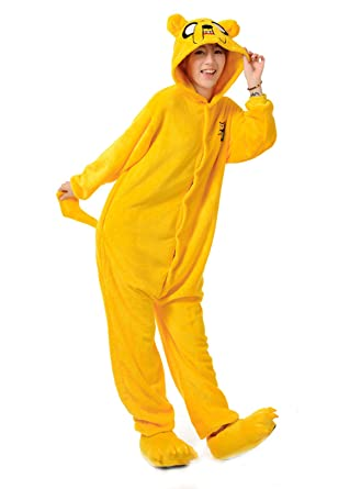 26d5a4c9a4 VU ROUL Adult Costumes Adventure Time Pajama Cosplay Onesies Kigurumi Jake  the Dog XL
