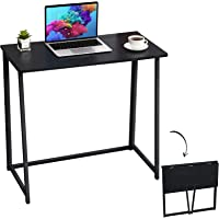 """GreenForest Folding Computer Desk 31.5"""" Foldable Small Writing Desk Study Table Easy to Assemble for Home Office,Black"""