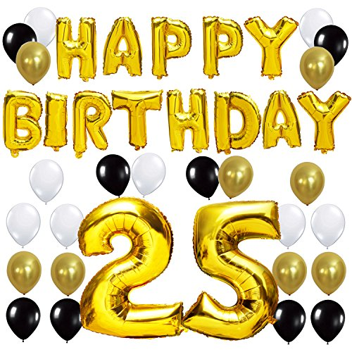 KUNGYO Birthday Party Decorations Kit - Happy Birthday Balloon Banner, Number 10 16 21 30 40 50 60 70 80 90 Balloon Mylar Foil, Black Gold White Latex Ballon (25)