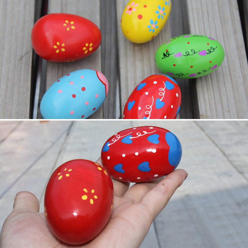 6 PCS 10 x 6 cm Color/é B/éb/é Enfants En Bois Musical Percussion Egg Shakers Maracas Jouet pour 0-3 Ans Couleur Al/éatoire Beetest/®