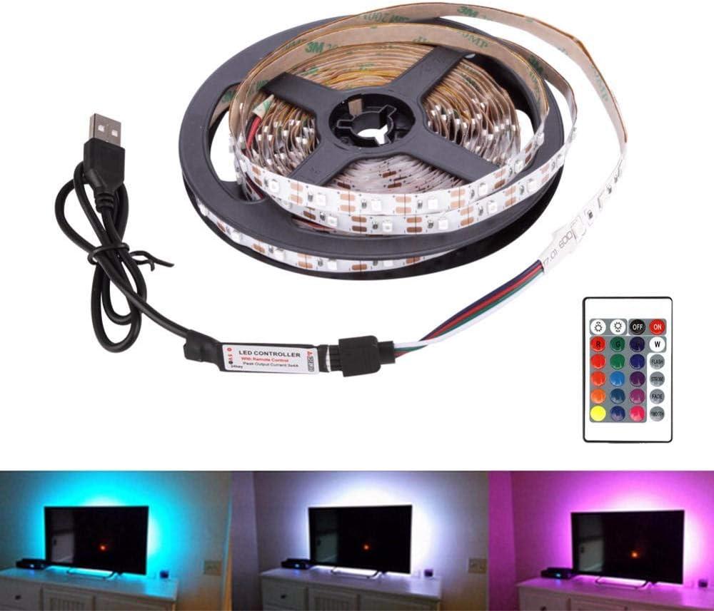Tira ledTira de LED USB 5V Bombilla flexible SMD 2835 5M Decoración de escritorio TV Luz de fondo - 24 teclas: Amazon.es: Iluminación