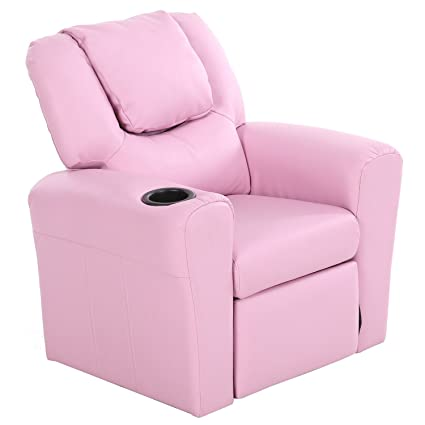 Harperu0026Bright Designs WF036880HAA Kids Recliner With Cup Holder PU Leather  Sofa Chair For Child (Pink