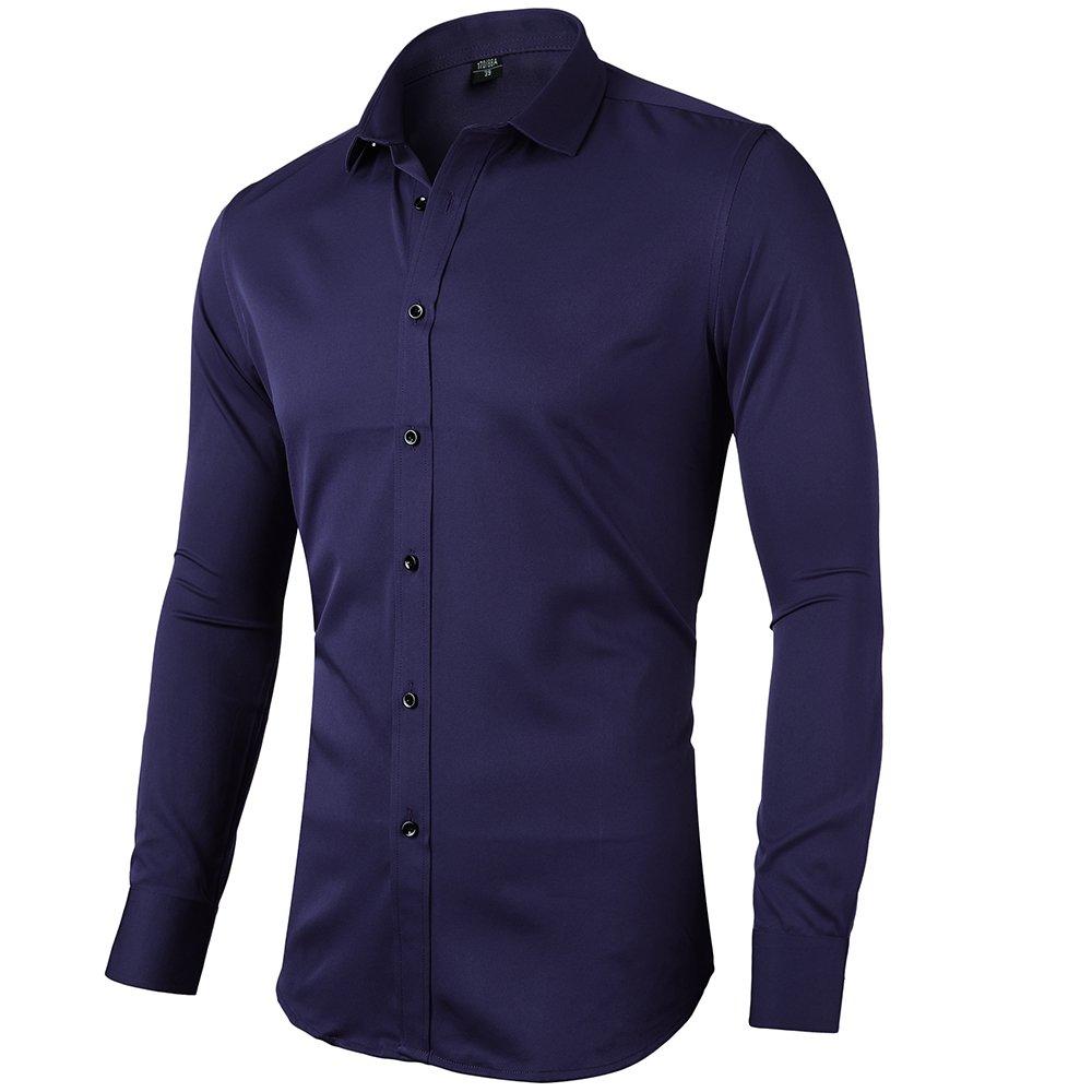 INFLATION Herren Hemd aus Bambusfaser umweltfreudlich Elastisch Slim Fit für Freizeit Business Hochzeit Reine Farbe Hemd Langarm Herren-Hemd, Gr XXS-2XL, 15 Farben 2-706Shirt