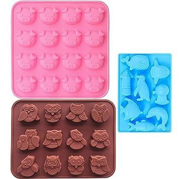 Molde de Silicona Animal, IHUIXINHE Cerdo Delfines Búho Molde de Hielo, Chocolate del Molde
