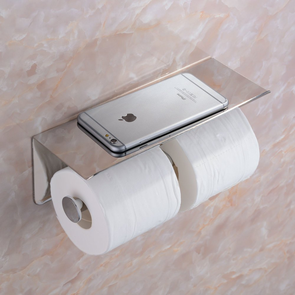 Beelee SUS 304 Stainless Steel Double Roll Toilet Paper Holder Storage...