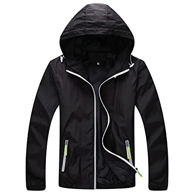 536f931e415 Panegy Unisex Skin Coat Lightweght Jacket Sun Protection Men s Hoodie Jacket  Elastic Cuffs Black M