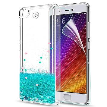 LeYi Funda Xiaomi Mi 5S / Mi5S Silicona Purpurina Carcasa con HD Protectores de Pantalla,Transparente Cristal Bumper Telefono Gel TPU Fundas Case ...