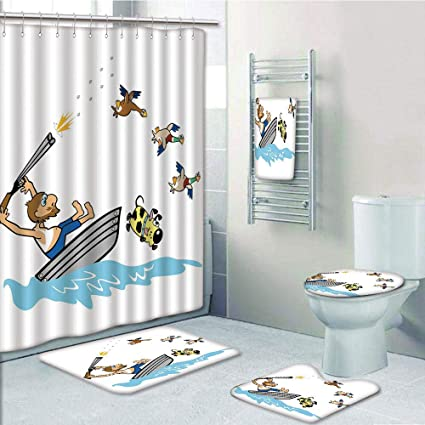 Amazon Com Iprint Bathroom 5 Piece Set Shower Curtain 3d Print