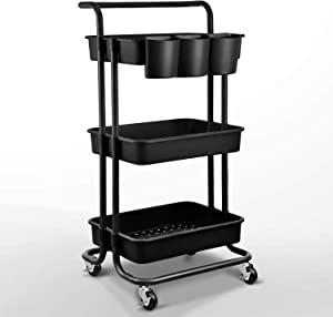 Asoopher 3-Tier Rolling Utility Cart, Storage Shelves Organizer, Coffee Bar with Lockable Wheels, Handle, 3 Hanging Baskets and 4 Hooks, Easy Assembly, for Bathroom, Kitchen, Office, Workshop, Black