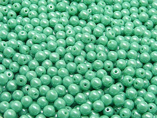 - 100pcs 4mm Czech Pressed Glass Beads, Round, Opaque Turquoise Green White Luster (63130/14400)