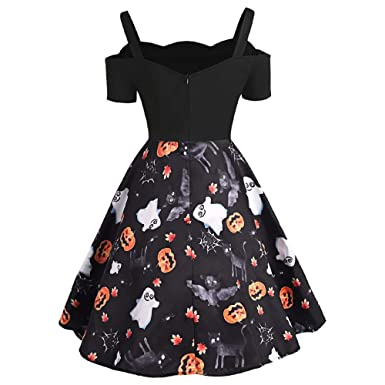 bac12f30bf1 RoseGal Women Vintage Halloween Print A-line Dress Short Sleeve Cold  Shoulder Backless Short Sleeve  Amazon.co.uk  Clothing