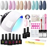 COSCELIA 6 Colors Nail Gel Polish Starter Kit with 24W LED Nail Dryer UV Primer Top Coat Manicure Tools and Decorations