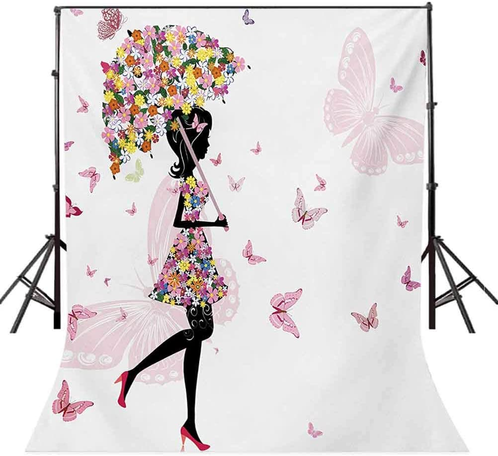 6x8 FT Backdrop Photographers,Girl with Floral Umbrella Dress Walking with Butterflies Inspirational Art Background for Kid Baby Boy Girl Artistic Portrait Photo Shoot Studio Props Video Drape
