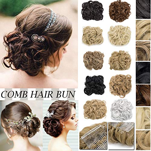 (Messy Curly Hair Bun Extension Easy Stretch Hair Dish Chignon Scrunchy Updo Donut Wedding Hairpieces Combs Clip in Ponytail Trap Ponytail(Bleach Blonde))