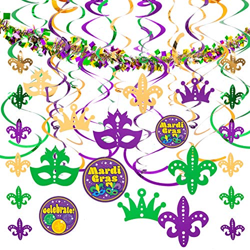 JOYIN Assorted Mardi Gras-themed 24 Hanging Swirls and Strings with Garland Party Decorations Supplies