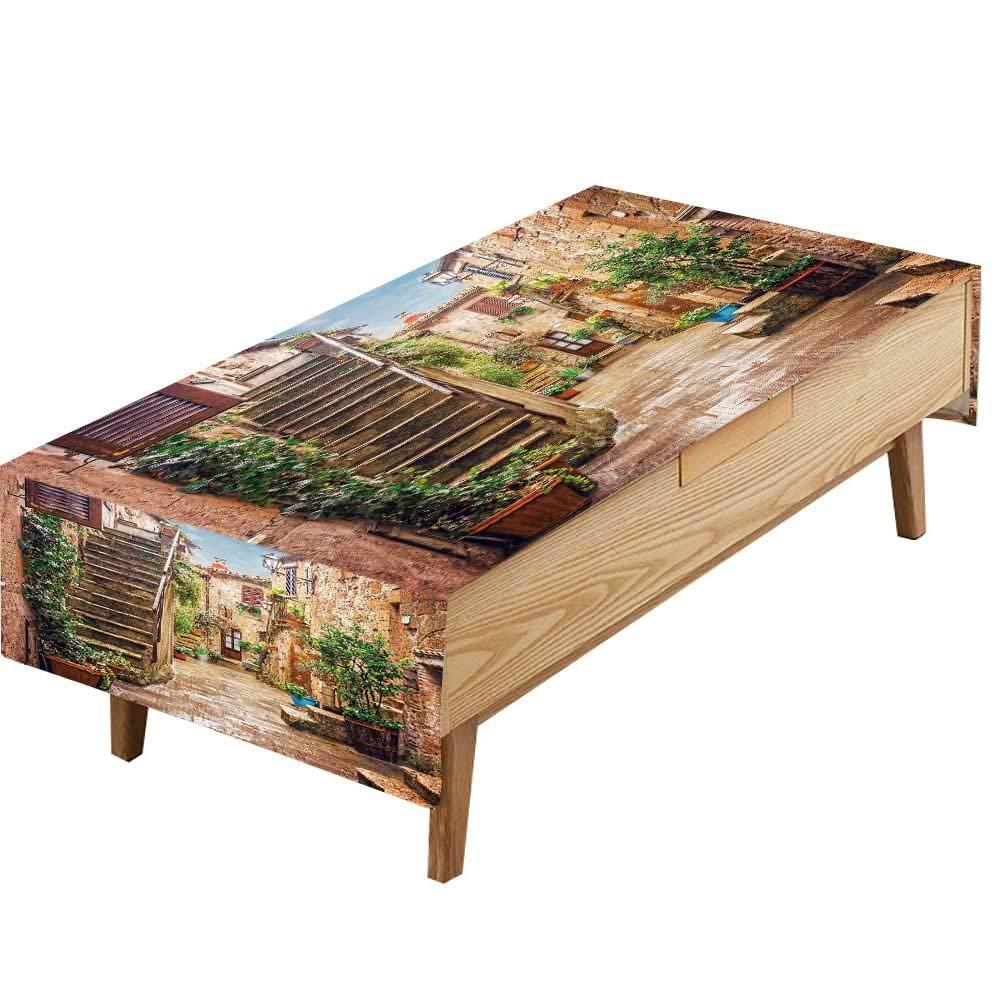 PINAFORE ポリエステル製テーブルクロス タコのひざ掛け タコの触手 アクアチック 海の海の海の生活 グレーブルー キッチン ダイニングテーブルトップ装飾 ホテルカフェ 幅50×長さ80インチ W60