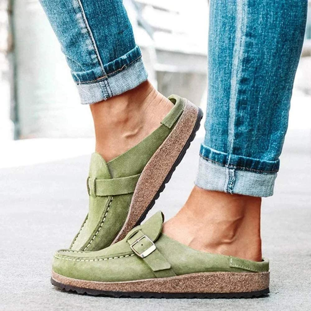 MoneRffi Womens Sandals Clogs Suede Slip On Sandals Flat Loafer Round Toe Backless Walking Slippers Shoes