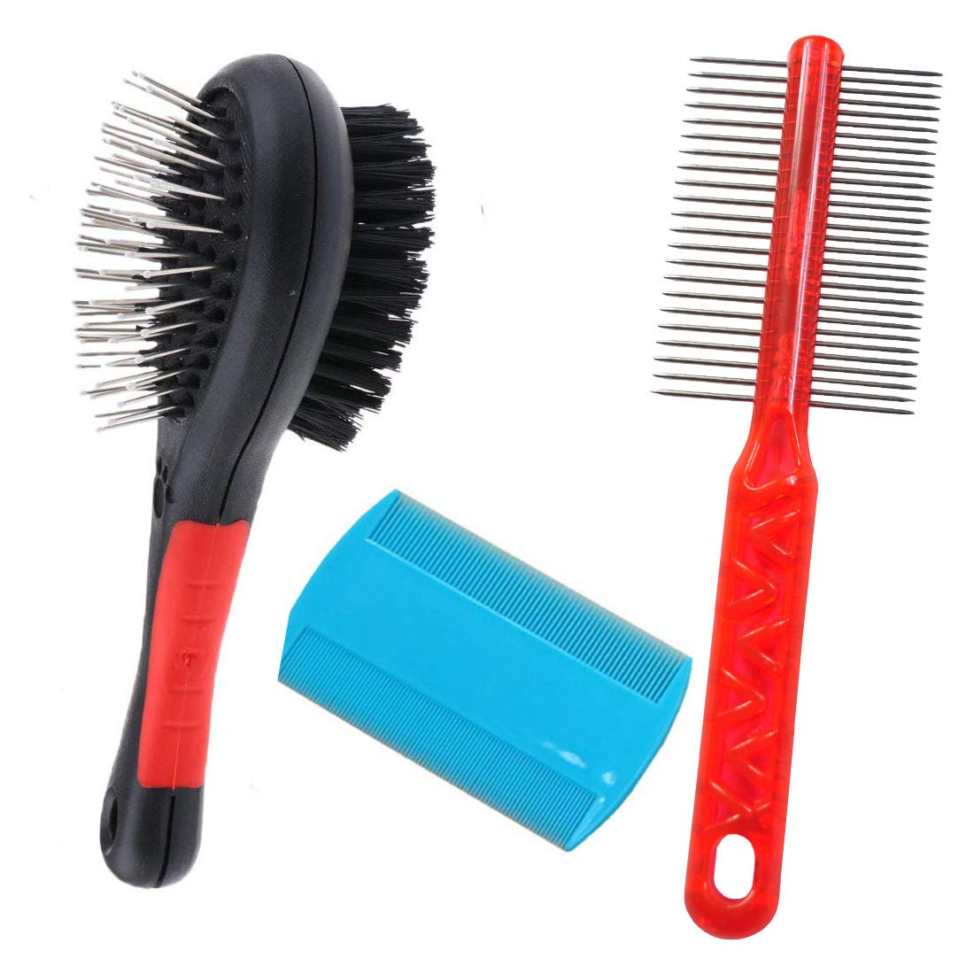 Dog Brush, Professional Double Sided Pin & Bristle Bamboo Brush for Dogs & Cats, Grooming Comb Cleans Pets Shedding & Dirt for Short Medium or Long Hai (3Pcs)