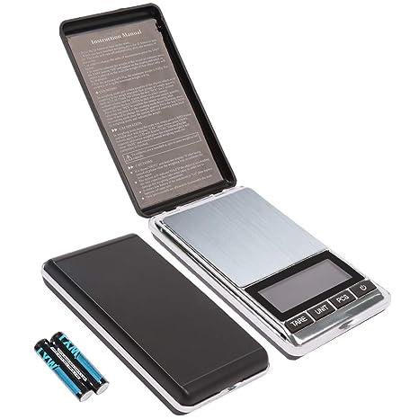 ASKALI Báscula digital de bolsillo, báscula de joyería portátil de 500 g/0,
