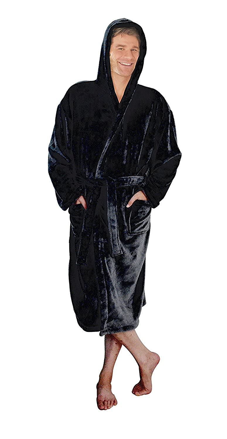 Rostrad ® Black Mens Hooded Soft Fleece Thermal Super Soft Dressing Gown Robe with Hood (Extra Large)
