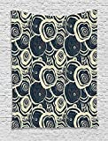 asddcdfdd Grunge Tapestry, Wood Pattern Nature Inspirations Circles of a Tree Abstract Style, Wall Hanging for Bedroom Living Room Dorm, 60 W X 80 L Inches, Dark Blue Pale Reseda Green