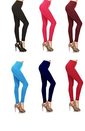 2c7c660710f600 American Casual Women's Seamless 5 Pack Fleece Lined Leggings- Assorted  colors (One Size, Assorted) at Amazon Women's Clothing store: